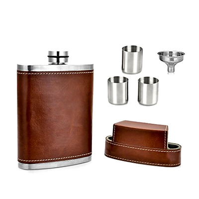GENNISSY Pocket Hip Flask 8 Oz With Funnel - Stainless Steel With Leather Cover