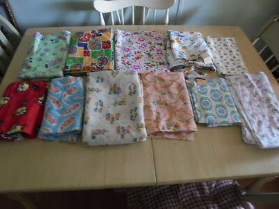 11 Pieces Of Vintage Fabric Material All 1 Yard Or More Never Used