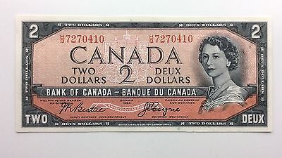 1954 Canada Devil Face Two 2 Dollars HB Series Uncirculated Bill Banknote B012