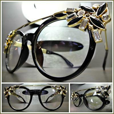 CLASSIC RETRO Bling CAT EYE Style Clear Lens EYE GLASSES Unique Black Gold Frame