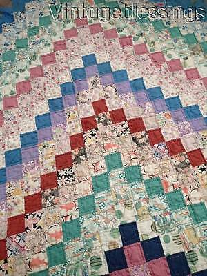 "Beautiful Blue VINTAGE 30s Trip Around The World QUILT 87"" x 67"""