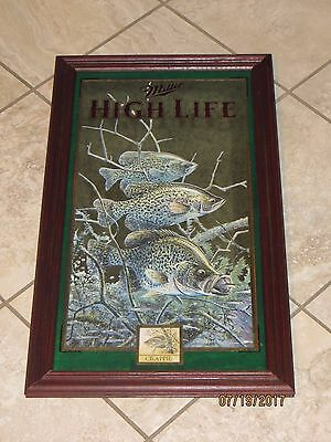 Miller Beer Wildlife Mirror 4th Series CRAPPIE Fish Fishing in Motion Sign