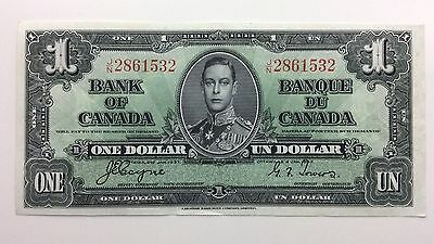 1937 Canada One 1 Dollar JN Series Almost Uncirculated Bill Note Banknote B015