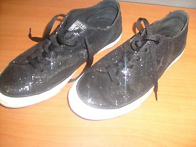 Converse One Star Low Top Sneakers Shoes Black Glitter Sequin Size 8.5 Women's