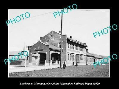 OLD LARGE HISTORIC PHOTO OF LEWISTOWN MONTANA, MILWAUKEE RAILROAD DEPOT c1920 2