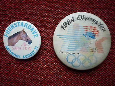 Vintage USA Olympic Button 1984 and Saratoga Racetrack Button Fourstardave 1980s