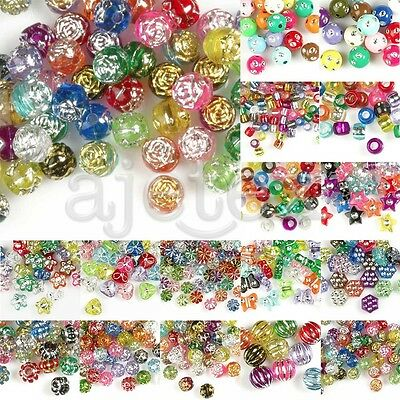 Foil Beads Acrylic Spacer DIY Bracelet Necklace Jewellery Making Mixed 16 Styles