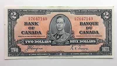 1937 Canada Two 2 Dollar ER Series Almost Uncirculated Bill Note Banknote B017