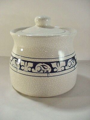 Dedham Pottery Potting Shed Rabbit / Bunny Blue On White Covered Cookie Jar J17