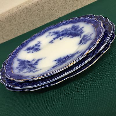 """3 PLATES By Henry Alcock """"Touraine"""" Pattern c.1898 Flow Blue - FB18"""