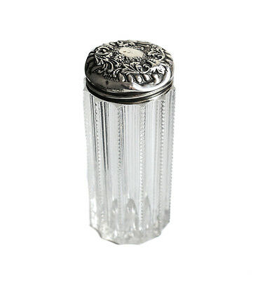 Sterling Silver and Cut Glass Vanity Jar, circa 1900. Repousse florals