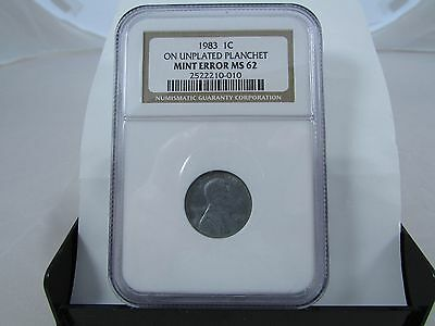 1983 One Cent Penny On Unplated Planchet Mint Error Ngc Ms62