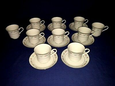 Fine China Of Japan WAID 5036 ~ Footed Cups & Saucers (8 Sets) ~ Excellent