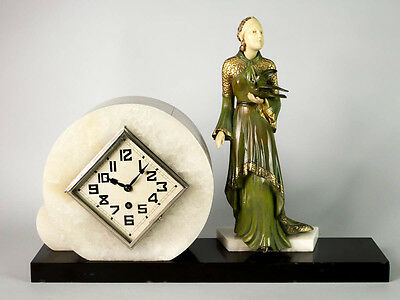 1930 FRENCH ART DECO MANTEL CLOCK SET CHRYSELEPHANTINE SCULPTURE. Unsigned