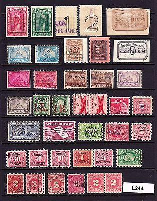 Nice Collection / Lot Old Us Revenue & Other Back Of The Book Stamps (L244)