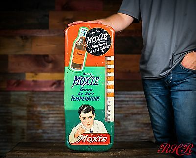 Original Early Rare Moxie Soda Pop Thermometer Sign
