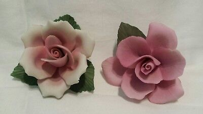 Lot 2 Franklin Mint Capodimonte Italy pink white rose Flower Figurine pair set