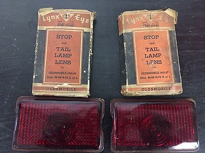 Vintage Lynx  Set Of 2 Ruby Red Glass 1942-47 Oldsmobile Stop & Tail Lamp Lens