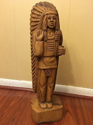 Rare Hand Carved Wooden Cigar Store Indian Tobacco Folk Art Advertising