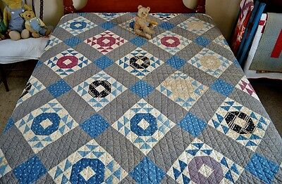 Antique Hand Stitched 19th c Calico Crown of Thorns Quilt