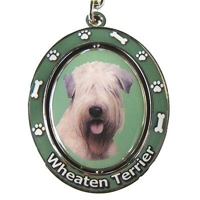 """SOFT-COATED WHEATEN TERRIER   """"Spinning"""" Key Chain"""