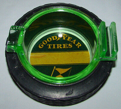 Old Good Year Tires Rubber Tire Ashtray Green Tint