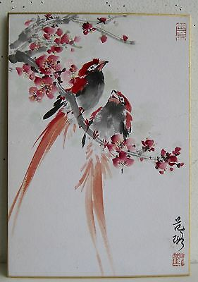 Fine Old Japanese Sumi-e Red Birds & Flower Branch Watercolor Artist SIGNED