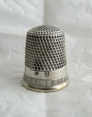 Good Antique Simons Sterling Silver Sz 8 Thimble