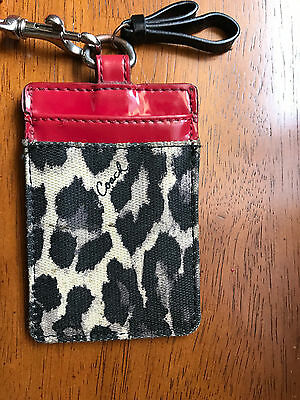 COACH LEOPARD OCELOT CANVAS & RED PATENT LEATHER  ID Badge Holder Card Case