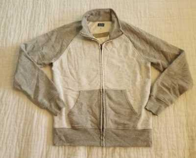 New Mens S  J Crew Colorblock Track Jacket Full Zip Sweater Heather Tin
