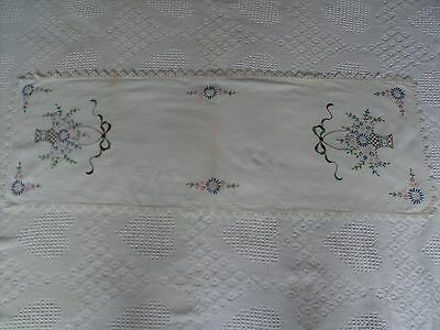 """Vintage Hand Embroidered Flowers Dresser Scarf Table Runner 15"""" x 41.5"""" Stains"""
