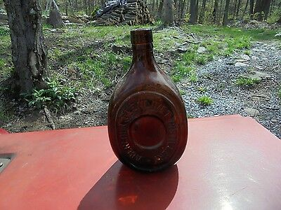 Antique Bottle Old Brown Whiskey Bottle 3 Side Bottle Cork Top