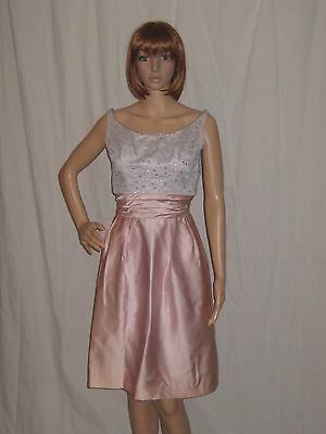 Vintage 60s Cocktail Dress Emma Domb Rhinestones Satin Party Wedding Small
