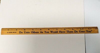 """Antique Vintage Coca Cola 12"""" Wood Ruler Do Unto Others Great Wood Yellowing"""