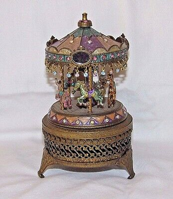 """Sweet Romance"" Carousel Musical Trinket Box Shelly Cooper ""Talk to the Animals"""