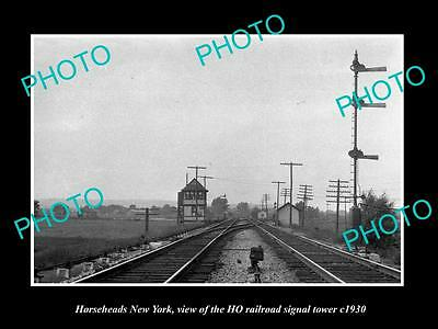OLD HISTORIC PHOTO OF HORSEHEADS NEW YORK, THE HQ RAILROAD SIGNAL TOWER c1930