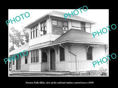 OLD LARGE HISTORIC PHOTO OF NEWTON FALLS OHIO, THE RAILROAD SIGNAL TOWER c1950