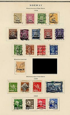 1929-32 Norway Stamps Scott #136-157 All:  Used H/HR