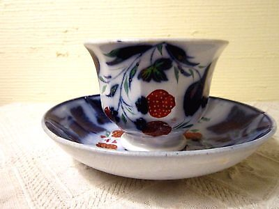 Antq Flow Blue Handleless Cup And Saucer/red Strawberries/flow Blue Leaves