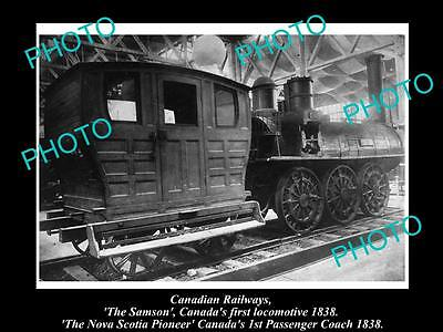 OLD LARGE HISTORIC PHOTO OF THE CANADIAN RAILWAYS 1st LOCOMOTIVE & COACH c1900