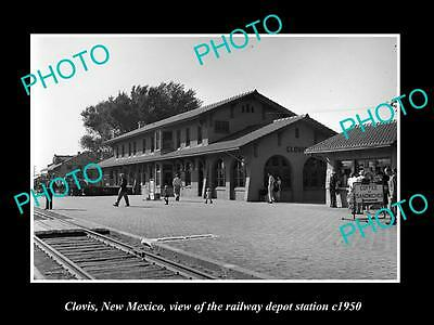 OLD LARGE HISTORIC PHOTO OF CLOVIS NEW MEXICO, THE RAILROAD DEPOT STATION c1950