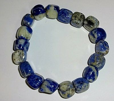 1pc Sodalite Crystal Healing Gemstone Tumbled Beaded Nugget Stretch Bracelet