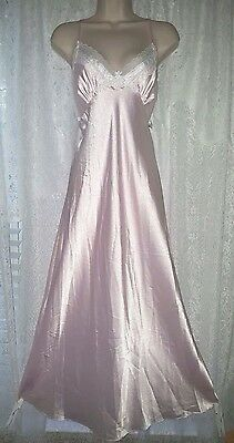 Vintage Pink Christian Dior Shiny Satiny Nightgown Gown Negligee Lace L