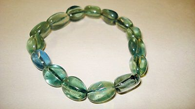 1pc Fluorite Crystal Healing Gemstone Tumbled Beaded Nugget Stretch Bracelet