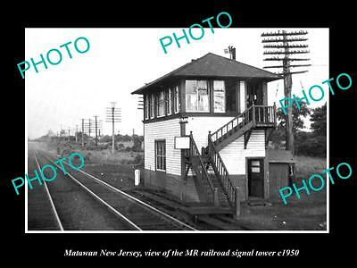 OLD HISTORIC PHOTO OF MATAWAN NEW JERSEY, THE MR RAILROAD SIGNAL TOWER c1950