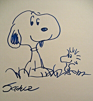 Charles Schulz Original Ink Hand Drawing comic art signed, Snoopy, Charlie Brown