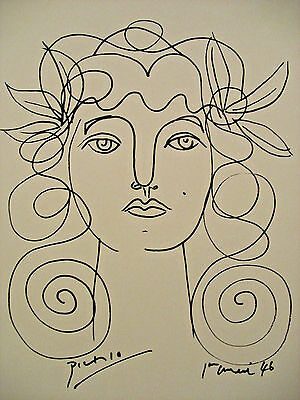 Pablo PIcasso, Original, Painting, Drawing,w/ certificate, Signed, Matisse style