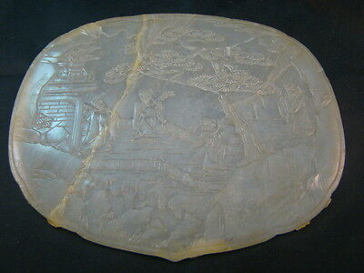 Chinese 18th century nice carved very thin Hetian jade plaque  r49