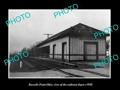 OLD LARGE HISTORIC PHOTO OF RUSSELLS POINT OHIO, THE RAILROAD DEPOT c1950 2