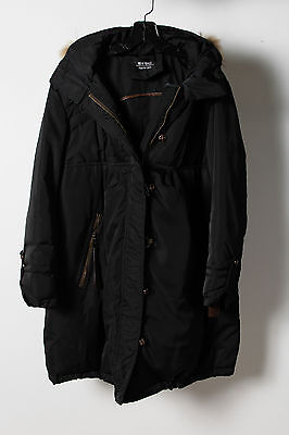 New Basi Black Quilted Long Hooded Long Sleeve Parka Jacket